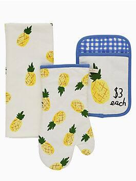 Pineapples Set of 3, washed aqua, medium
