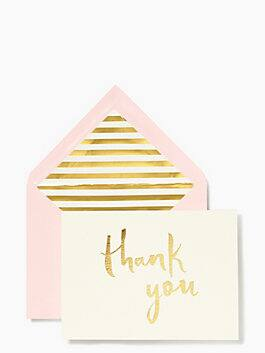 paint brush thank you card set, Pink Gold, medium