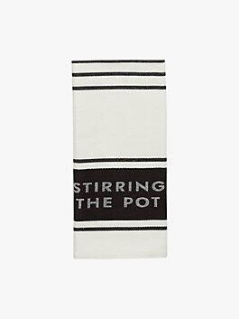 diner stripe kitchen towel, black, medium