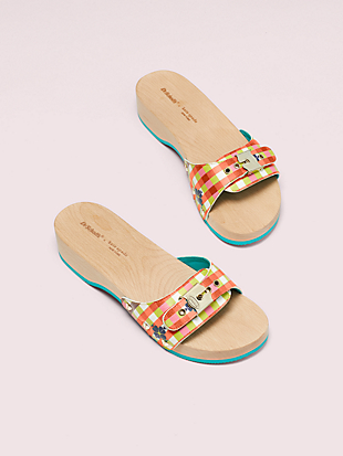 dr. scholl's x kate spade new york bella plaid slide sandal by kate spade new york non-hover view