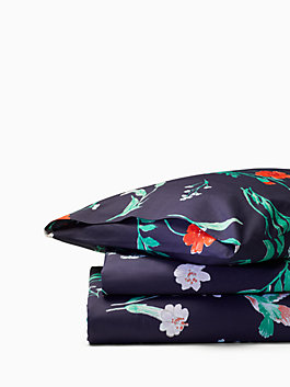 Hummingbird Duvet Set, navy, medium
