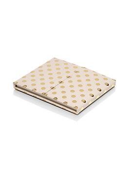 polka dot desktop weekly calendar and folio, gold dots, medium