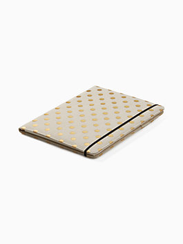polka dot notepad folio, gold, medium