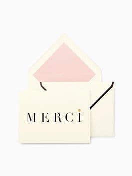 merci thank you cards, black/cream, medium