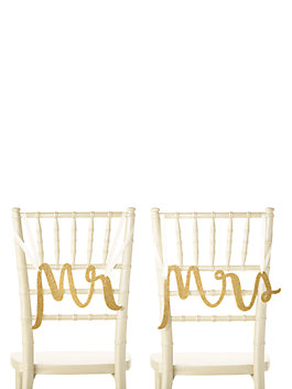 mr. and mrs. chair signs, gold, medium