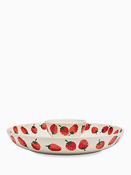 strawberries melamine chip and dip, red, medium