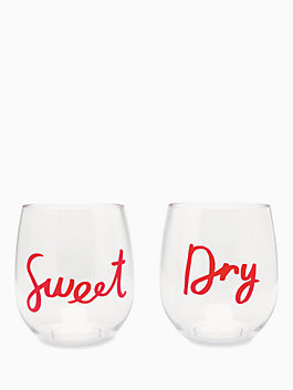 sweet & dry acrylic stemless wine glass set, coral, medium