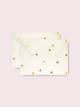 gold dot envelope folio, gold, medium