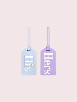 his & hers luggage tag set, light purple, medium