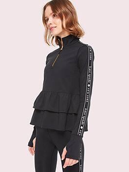 logo ruffle half zip, black, medium