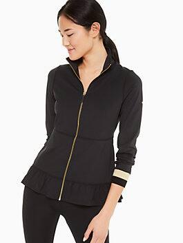 ruffle hem jacket, black, medium