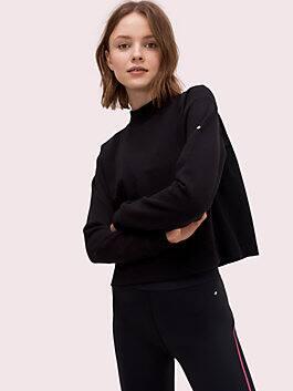 mesh mixed media pullover, black, medium