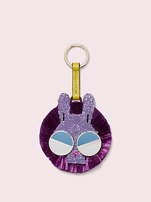 spademals raffia money bunny dangle keychain by kate spade new york non-hover view