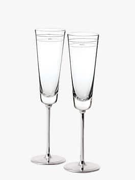 darling point toasting flute pair, crystal, medium
