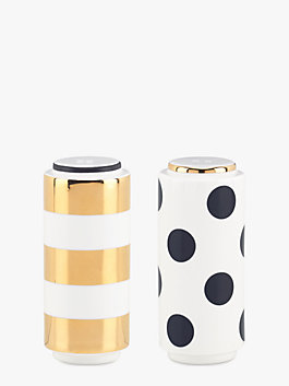 Fairmount Park Dot/ Stripe Salt & Pepper Set, BLACK/WHITE, medium