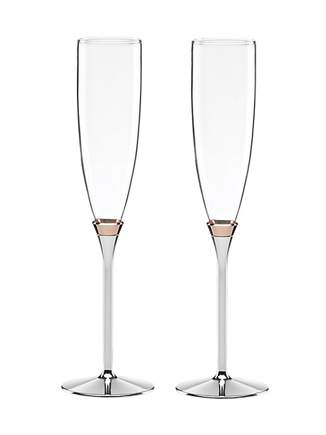 rosy glow toasting flute pair by kate spade new york