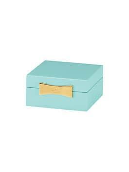 garden drive square jewelry box, turquoise, medium