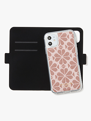 spade flower coated canvas iphone 11 magnetic wrap folio case by kate spade new york hover view
