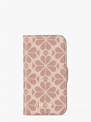 spade flower coated canvas iphone 12 mini magnetic wrap folio case, , rr_productgrid