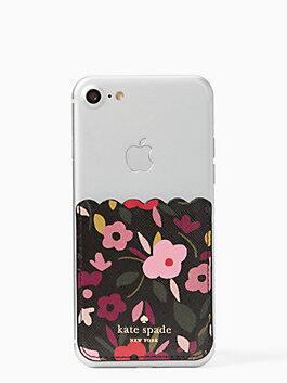 boho floral sticker pocket, black multi, medium