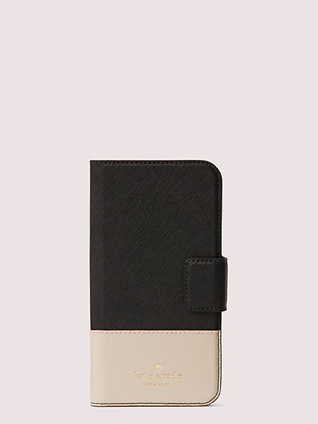 leather wrap iphone x & xs folio case by kate spade new york