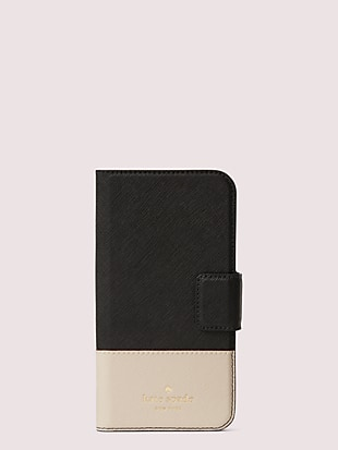 leather wrap iphone x & xs folio case by kate spade new york non-hover view