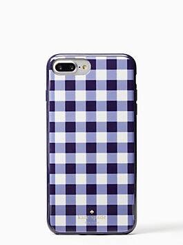 gingham iphone cases 7 & 8 plus case, navy, medium