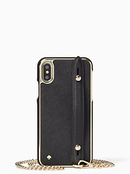 hand strap stand iphone x & xs crossbody, black, medium