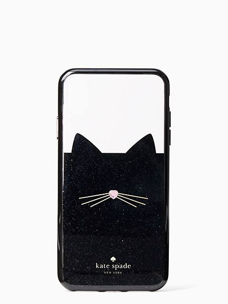 jeweled glitter cat iphone xs max  case by kate spade new york