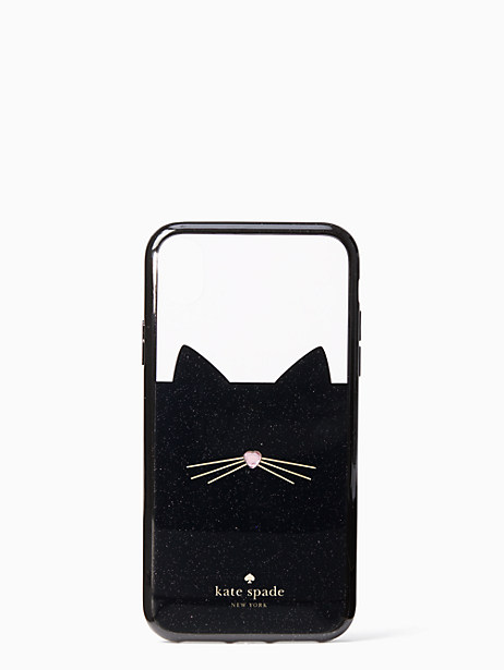 jeweled glitter cat iphone xr case by kate spade new york