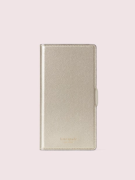sylvia iphone xs max magnetic wrap folio case, pale gold, large by kate spade new york