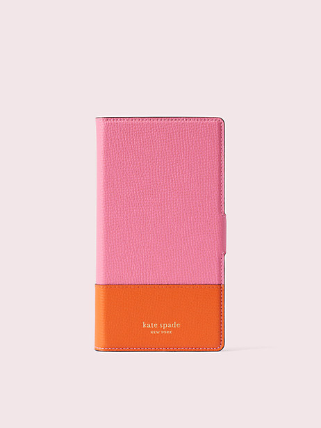 sylvia iphone xr magnetic wrap folio case, hibiscous multi, large by kate spade new york