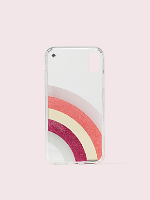 glitter rainbow iphone x & xs case by kate spade new york hover view