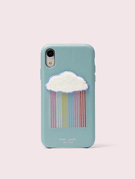 rainbow cloud patch iphone xr case by kate spade new york