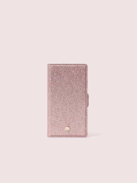 burgess court glitter iphone x & xs magnetic wrap folio case by kate spade new york