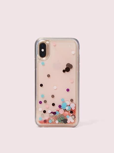 disco dots liquid glitter iphone x & xs case by kate spade new york