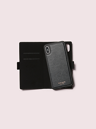 burgess court glitter iphone xs max magnetic wrap folio case by kate spade new york hover view
