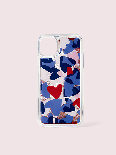 heart party liquid glitter iphone 11 pro max case by kate spade new york
