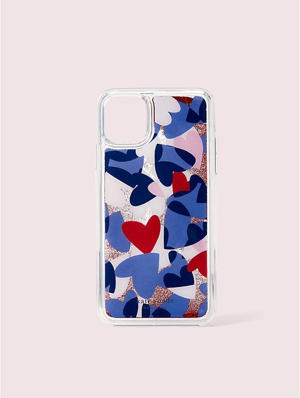 Party Hülle mit Herzmuster und Glitzerflüssigkeit für iPhone 11 Pro, , rr_large