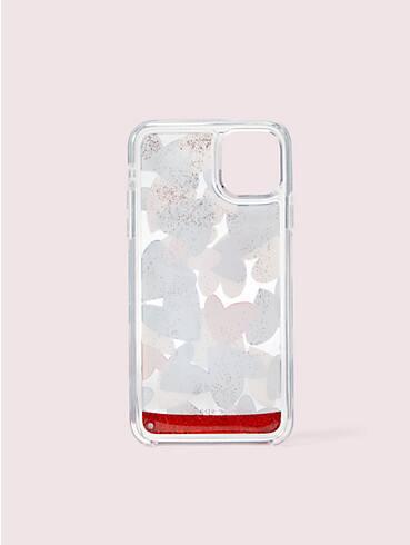 Party Hülle mit Herzmuster und Glitzerflüssigkeit für iPhone 11 Pro, , rr_productgrid