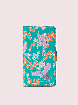 bird party iphone 11 magnetic wrap folio case by kate spade new york non-hover view