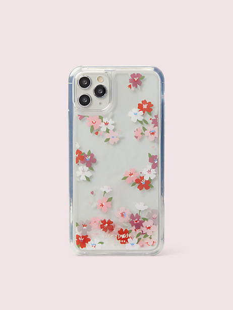 cherry blossom liquid glitter iphone 11 pro max case by kate spade new york