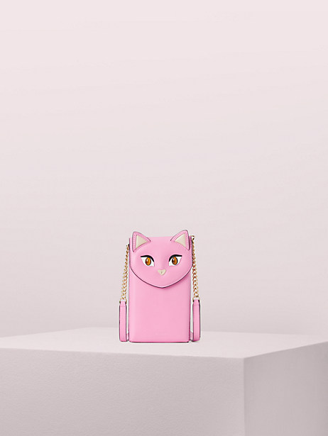 meow cat north south phone crossbody, pink, large by kate spade new york