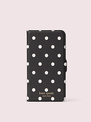 cabana dot iphone 11 magnetic wrap folio case by kate spade new york non-hover view