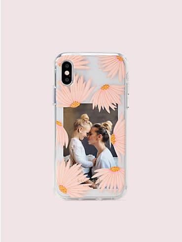 """Schmucksteinbesetzte Fotorahmen-Hülle für iPhone XS mit """"Pacific petals""""-Muster, , rr_productgrid"""