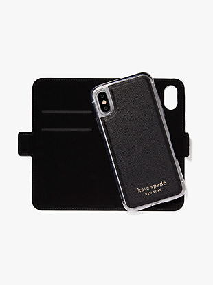 cabana dot iphone x & xs magnetic wrap folio case by kate spade new york hover view