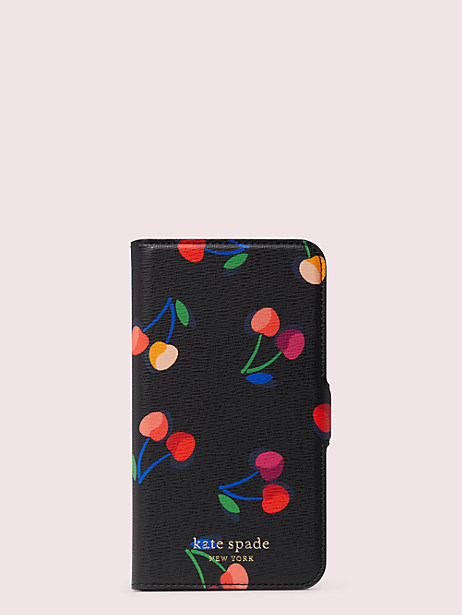 spencer cherries iphone 11 pro magnetic wrap folio case by kate spade new york