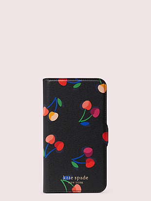 spencer cherries iphone 11 pro magnetic wrap folio case by kate spade new york non-hover view