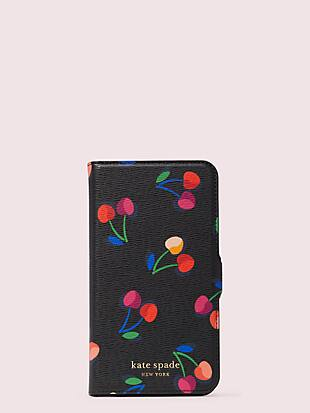 spencer cherries iphone 11 magnetic wrap folio case by kate spade new york non-hover view