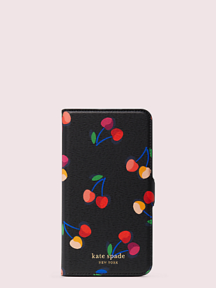 spencer cherries iphone 11 pro max magnetic wrap folio case by kate spade new york non-hover view